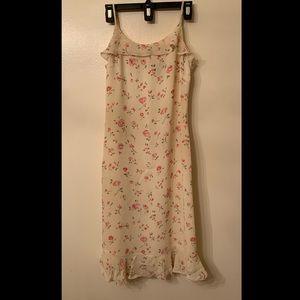 Light Floral Maxi-Midi Slip Dress with Ruffle Hem